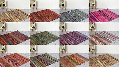 Handmade Indian Chindi Rag Rug 100% Recycled Cotton Woven Floor Mat 3x5 X 5x7 FT • 20.99£