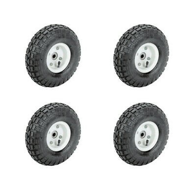 $39.95 • Buy Set Of Four(4) 10 In. Pneumatic Tire With White Hub Wagon Industrial Wheel New