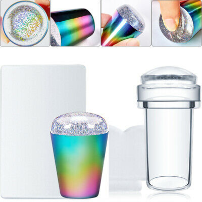 $0.99 • Buy Nail Art Stamping Stamper Scraper Clear Rainbow Plates Transfer Manicure Tool