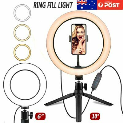 AU42.74 • Buy 10  Phone Selfie LED Ring Light Stand Dimmable For Makeup Video Shooting Live AU