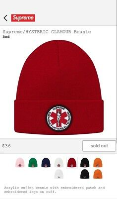 $ CDN90.82 • Buy Supreme X HYSTERIC GLAMOUR Beanie Red FW17