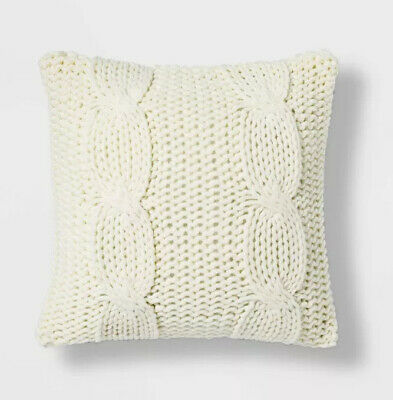 £17.66 • Buy Threshold Cable Knit Throw Pillow Cream  (18 ) Square