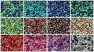 BUY 3 GET 3 FREE 400 4mm, 200 6mm, Or 100 8mm Glass Pearl Beads MIx-15+ Colours • 2.65£