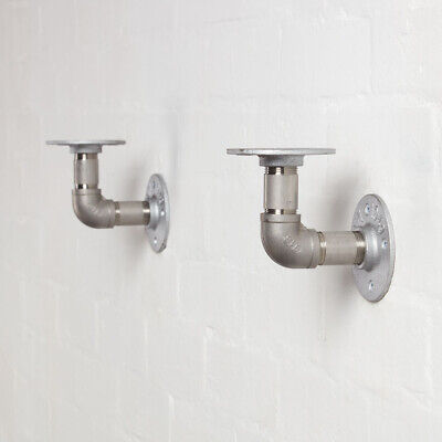 Industrial Pipe Shelf Brackets - Stainless Steel - Elbow Style- Steampunk Unique • 15.95£