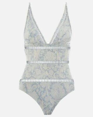 $79.99 • Buy ZIMMERMANN Helm Splice One Piece Swimsuit Blue White Floral Ladder Lattice AU 1