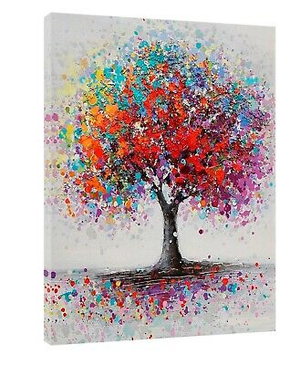 £9.49 • Buy Colorful Tree Oil Paint Abstract Picture Reprint On Framed Canvas Home Wall Art