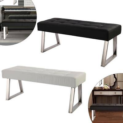 Dining Chairs Bench Long Seat Chrome Metal Legs Bedroom Faux Leather Black White • 77.99£
