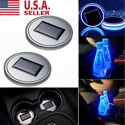 $10.99 • Buy 2PC Solar Cup Pad Car Accessories LED Light Cover Interior Decoration Lights US