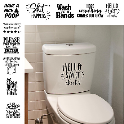 Funny Toilet Stickers Bathroom Quotes Sticker Toilet Seat Wall Tile Frame Decal • 3.50£