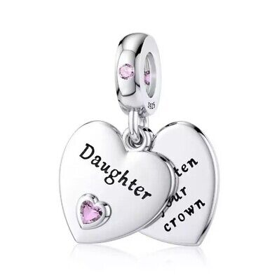 New DAUGHTER Pendant Heart Charm Pink Cz Genuine 925 Sterling Silver Gift • 14.99£