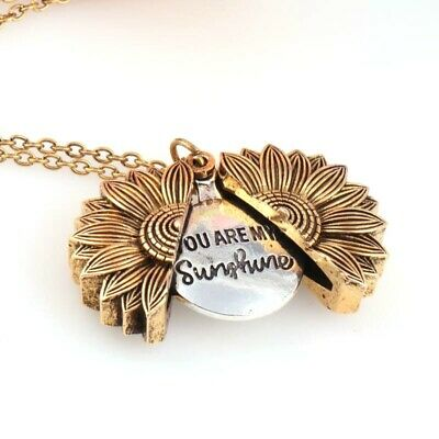 Unisex You Are My Sunshine Open Locket Sunflower Pendant Necklace Jewelry Gifts • 2.49£