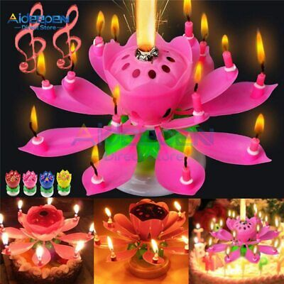 $ CDN5.63 • Buy Cake Candle Lotus Flower Musical Candle Happy Birthday Art Candle Lights For DIY