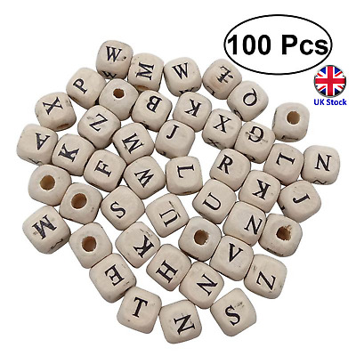 £6.99 • Buy 100 X 10mm Cube Wooden Alphabet Beads For DIY, Crafts. Jewellery- UK Stock