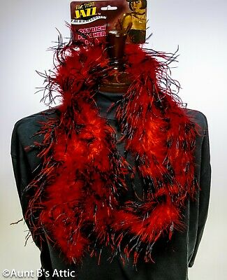 £18.21 • Buy Feather Boa Blk/Red Ostrich Feather Boa 72  Long Costume Accessory