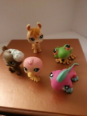 *Littlest Pet Shop* LPS Toy Figures X5 HASBRO 2005 Red/Pink Mag LOT#1 • 4.99£