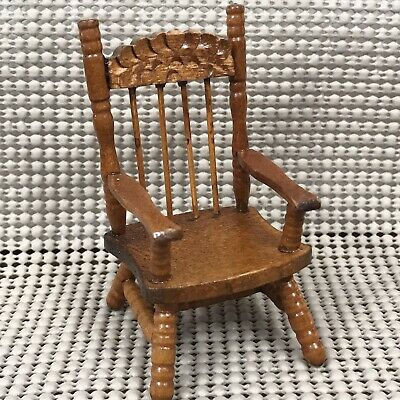 $7.99 • Buy Dollhouse Miniatures Furniture Wooden Spindle Back Side Chair With Armrest Wood