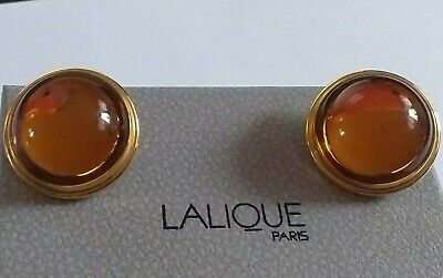 £134.99 • Buy Lalique Cabochon Amber Crystal /gold Tone Mounting Clip On Earrings Stunning