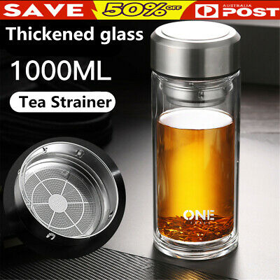 AU17.95 • Buy 800/1000ML Large Glass Water Bottle Double Walled Travel Mug Tea Infuser