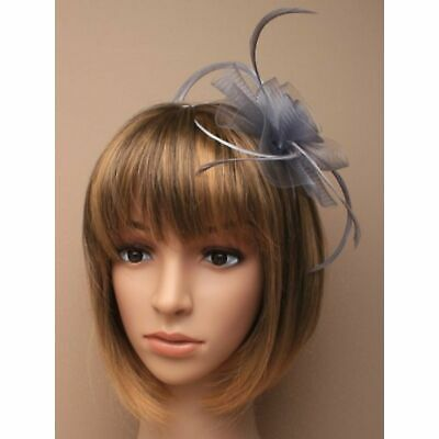 Silver Grey Fascinator With Feathers On Aliceband Ideal Wedding Hair Accessory • 5.95£