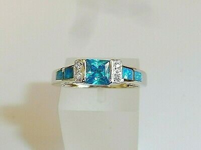 Ladies 925 Solid Silver Princess Cut Aquamarine Solitaire With Opal Accents Ring • 26.65£