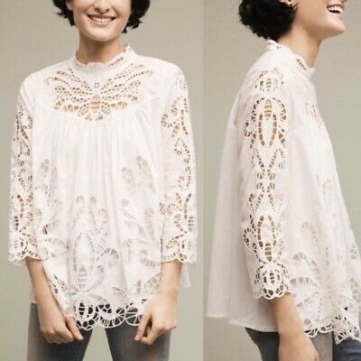 $ CDN46.40 • Buy Harlyn Anthropologie Oversized Blouse Small White High Neck Embroidered Lace Top