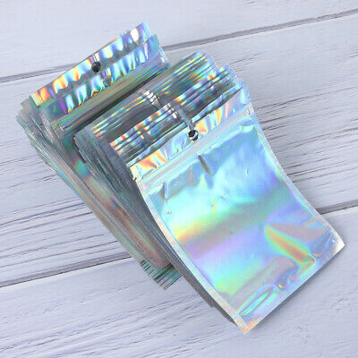 100 PCS Bag Rainbow Foil Pouch Flat Bags Storage Holographic Color • 8.83£