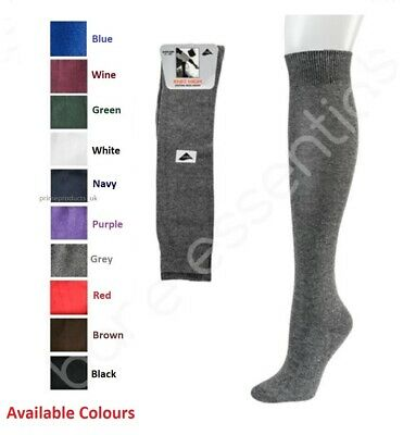 Girls Plain Long Knee High School Cotton Socks School Uniform Navy Black Grey • 1.99£