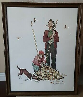 $ CDN19463.26 • Buy Original Norman Rockwell Collotype Lithograph Grandpa And Me Pencil Signed