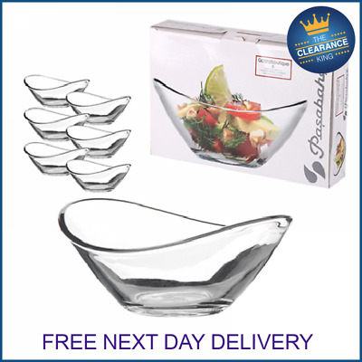 £8.49 • Buy 6 X Pasabahce Small Clear Glass Curved Dessert Bowls Ice Cream Fruit Sundae Dish