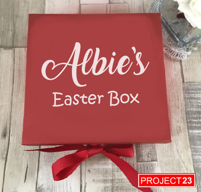 PERSONALISED EASTER TREAT GIFT BOX NAME Present Custom Celebration Sticker Decal • 1.89£