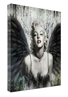 Marilyn Monroe Black Angel Wings Picture Print On Framed Canvas Wall Art Decor • 10.49£