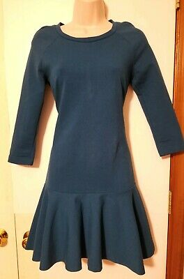 $6.99 • Buy Zara Teal Drop Waist Long Sleeve Fit And Flare Dress, Size XS