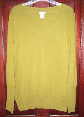 $21.24 • Buy J. Crew Sz XL 100% Cashmere Sweater Top Pullover V-Neck Long Sleeve Soft Olive