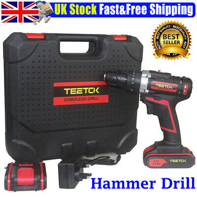 View Details Heavy Duty Cordless Combi Hammer Drill Driver Electric Screwdriver 2 Batteries • 51.68£