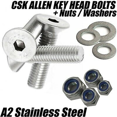 £2.68 • Buy M10 A2 Stainless Steel Countersunk Screws Socket Bolts + Nyloc Nuts + Washers
