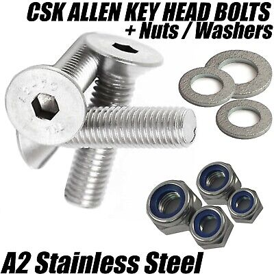 £2.68 • Buy M3 A2 Stainless Steel Countersunk Screws Socket Bolts + Nyloc Nuts + Washers