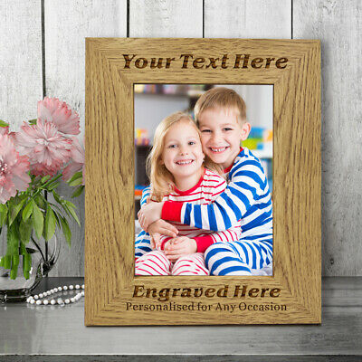 Personalised Wooden Engraved Photo Frame For Mum Dad Nan Gran Fathers Day Gifts • 9.99£