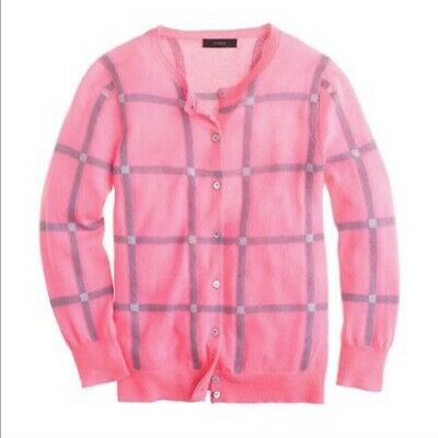 $32.76 • Buy J. Crew Collection Featherweight Cashmere Cardigan XL Windowpane Check Pink