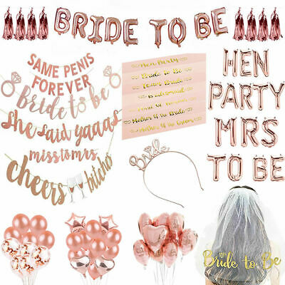 Team Bride To Be Hen Party Night Rose Gold Sashes Balloons Decoration Suppliers • 2.59£