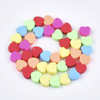 40 Beautiful Polymer Clay Colourful Heart Beads 10mm Jewellery Craft ❤️❤️ • 4.99£