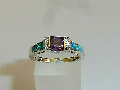 Ladies 925 Solid Silver Princess Cut Amethyst Solitaire With Opal Accents Ring • 28.95£
