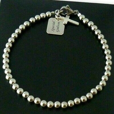 Engraved Bracelets With Cross For Men Or Boys, Gift For First Communion, Baptism • 19.99£