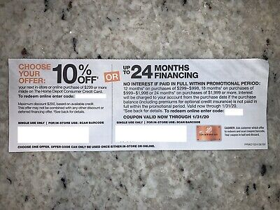 $50 • Buy HOME DEPOT: 10% Off Or 24-Month Finance - Coupon, In-store Or Online (1/29/20)