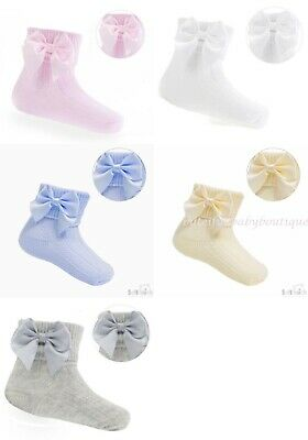 Baby Girls Spanish Style Satin Bow Ribbed Short Ankle Socks Soft Touch  • 2.99£