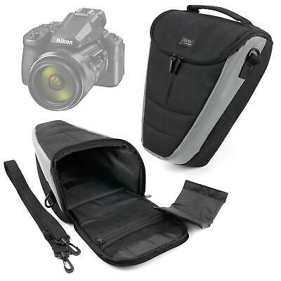 Large Black & Grey Shoulder Bag  / Case For Nikon Coolpix P900 / P950 / P1000 • 16.99£