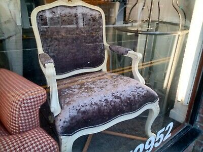 French Style Painted Chair With Scriva Heather Fabric • 130£