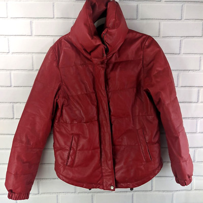 $ CDN158.57 • Buy Danier Canada Red Leather Puffer Coat Small Full Zip Women's Snaps Zipper