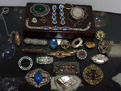 $ CDN52.17 • Buy Estate Lot Of Antique Victorian Jewelry Sterling, GF, Signed, Brooches, Necklace