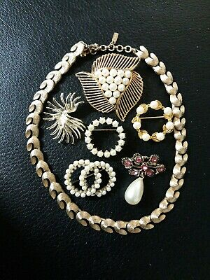 $ CDN13.03 • Buy Vtg Jewelry Lot Of 6 Gold Tone Brooches Faux Pearl & 1 Monet Leaf Necklace