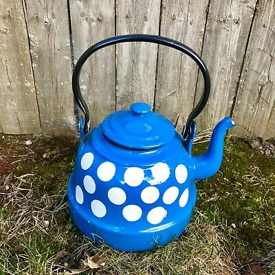 $45 • Buy Vintage Blue Polka Dot Enamelware Tea Pot Enamel Signed